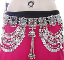 Tribal Fusion ATS Belly Dance Costume Coin Carved BELT Boho Tribal Kuchi Gypsy