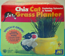 Chia Cat Grass Planter Featuring Sylvester & Tweety NIB As Seen on TV 2002