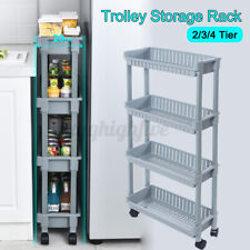 2/3/4 Tiers Storage Holder Racks Slim Trolley Cart For Kitchen Bathroom Shelf A+