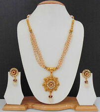 Indian South Traditional Ethnic Gold Plated Bollywood Necklace Jewelry Set