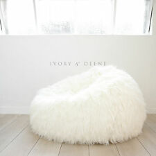 FUR BEANBAG Cover Deluxe Top of the Range Ivory Lush Soft Bean Bag Ivory & Deene