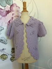 New CHARABIA LAVENDER WOOL-Blend CROCHETED Open CARDIGAN Sweater 12 Girls Gift