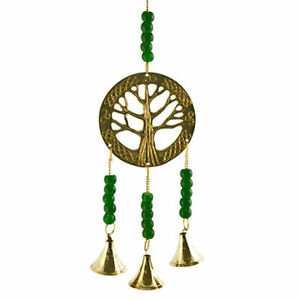 """NEW Tree of Life Brass Hanging Chime Beaded Altar Decoration w/ Bells 11"""" Length"""
