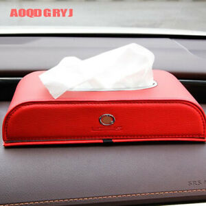 Red Car Organizer For Lexus ES RX NX LX LS UX Leather Removable Tissue Box 1pcs