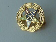 """Order of the Eastern Star OES Gold-Tone 25-Year Member Pin 5/8"""" Wreath & Star"""
