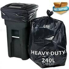 Heavy Duty Wheelie Refuse Sacks Strong 240L Bin Liners Rubbish Bags Clear Black