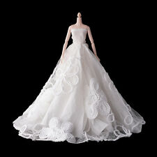 White Fashion Royalty Party Princess Dress Clothes/Gown For Barbie Doll LMY1288