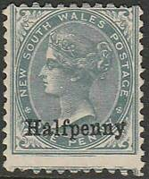 NSW 1891 Surcharged Halfpenny on 1d Grey ACSC66 attractive fine mint no gum