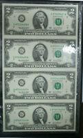 2003 Four $2 Dollar Bills Crisp Uncut Sheet by World Reserve Monetary Exchange