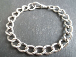 "Antique Victorian Solid Silver Albert Chain Bracelet Chunky Mens 20cm 7.75"" Long"