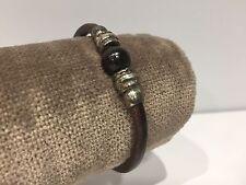 Nuevo - Pulsera Bracelet FRAGOLA - <Piel, Plata con Abalorios - Silver & Leather