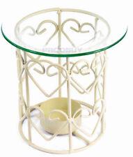 Oil Burner Cream Heart Metal Birdcage Design 3 Fragrance Samples 11cm