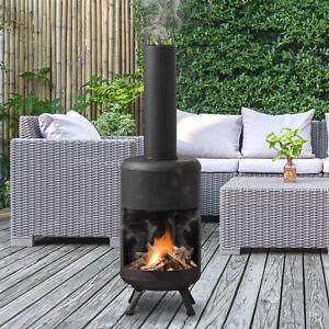 Outdoor Patio Log Burner Heater Garden Fire Pit Fireplace Chimney Chimenea Wood