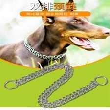 Adjustable Row Neck Metal Double Chain Chain Training Collar Leash Gear Choke SM