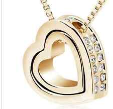 GOLD ALLOY MEXICAN SILVER JEWELLED DOUBLE HEART SHAPE PENDANT (N22) + MORE