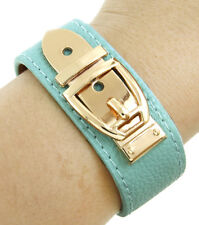 LUSH Celeb Statement Leather Turquoise Gold Buckle Bracelet By Rocks Boutique