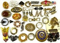 Lot 34 Pin Brooches Enamel Pearl Enamel etc Gold Silver Tone Jewelry Estate #PI8