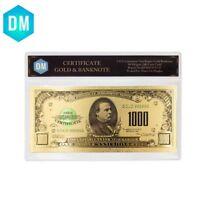 1918 Year 1000 Dollar 24k Gold Banknote Collectible 24k Gold Foil Bills In COA