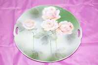 Antique Prussia with Winged Lion Backstamp Light Pink Roses Handled Plate S4952