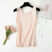 Women Lady Silk Tank Vest Tops Blouse Sleeveless Soft Casual Plain White Classic