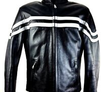 Black Leather Jacket Cafe Racer Pinstripe Padded Motorcycle Biker XELEMENT L
