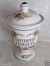 Pot A Pharmacie en faïence de Saint Clément Anthémis Nobilis pot couvert