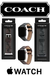 COACH Logo Mahogany Brown Black Canvas Leather APPLE 42 44 mm WATCH BAND STRAP