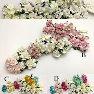 55 Mixed 8 designs + Leaf Paper Flower Scrapbook Wedding Cardmaking DIY Crafts