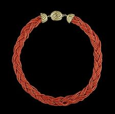 Eighteen-Karat Yellow Gold & Red Coral Multi-Strand Necklace