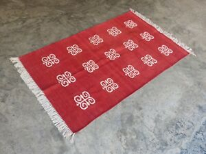 Cotton Flat Weave Rug Rag Handwoven 3'x5' Red Spider Pattern Area Dhurrie Kilim