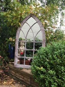 Victorian Arched Metal French Style Church Garden Mirror Verdigris Finish