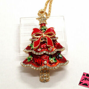Hot Betsey Johnson Red Enamel Cute Christmas Tree Crystal Sweater Chain Necklace