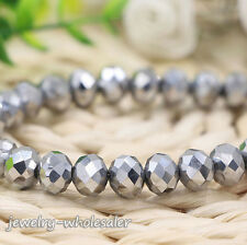 Wholesale Rondelle Faceted Crystal Glass Loose Spacer Beads Finding 4/6/8/10mm