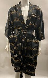 vintage saks fifth avenue Men's Chinese Robe Silk Blend M-L