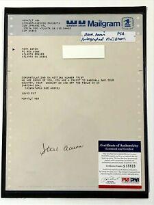 Vintage Hank Aaron Autograph Western Union Mailgram (1974 HR Record Breaker) PSA