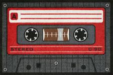 """Paillasson """" Tape - Rouge """" Oldscool Kasette Dj 80er 60x40cm Amusement Rétro"""