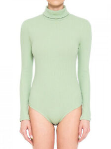 FashionMille Women's Rib Stretchy Turtle Neck Long Sleeve Top Leotard Bodysuit
