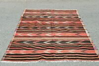 Vintage Turkish Hand Knotted Carpet Oushak Traditional Wool Kilim Area Rug 4x7ft