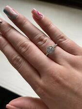 9ct White Gold Cubic Zirconia Halo Cluster Ring. F.hinds. Size K.