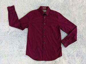 Express 1MX MEDIUM 15-15.5 Men Fitted Burgundy Long Sleeve Button Dress Shirt