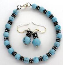 "Blue Gemstone Bead Bracelet and Earrings Vintage 7"" Pierced Dangle Beaded"