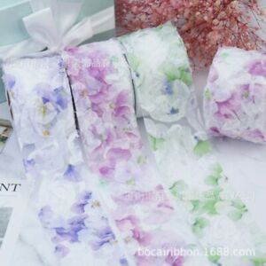 10yards Gradient Flower Organza Ribbon Wrapping Clothing Sewing Trims for Gift