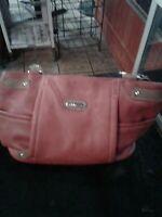 Multi Sac RED and Brown multi pocket shoulder bag.