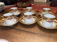 6 Vtg Legle Porcelaine d'Art Limoges Blue & Gold Demitasse Roses Cups & Saucers