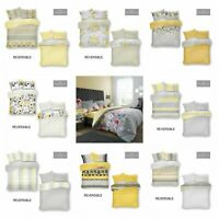 Yellow Grey Printed Duvet Set Quilt Cover Reversible Bedding All UK  Sizes