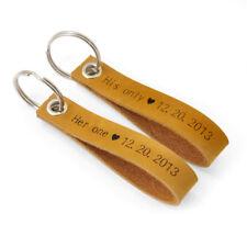 Custom Pair Leather Keychain, Couples Leather Keychain Custom Anniversary Gift
