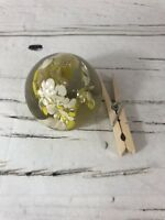 Glass Paperweight YELLOW WHITE FLOWERS