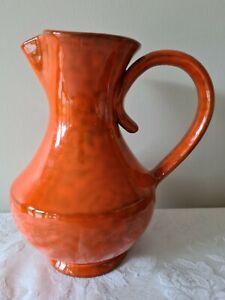 Vintage Italian Art Pottery - Italica ARS Orange Handled Pitcher Jug - 1960's