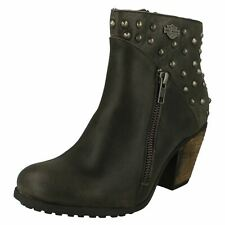 Ladies Harley Davidson Heeled Wide Fit Zip Leather Ankle Boots Wexford