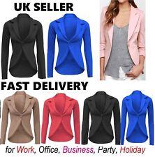 Womens Slim Fit Casual Smart Jersey Blazer Ladies Office Jacket Coat Suit slmjkt